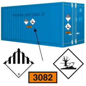 Etichettatura container classe 9 e pericolose per ambiente