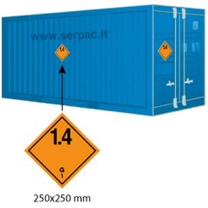 Etichettatura container classe 1 divisione 1.4