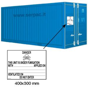 Etichettatura container caricato con merci sotto fumigazione