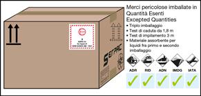 Imballaggio etichettato per merci in quantità esenti