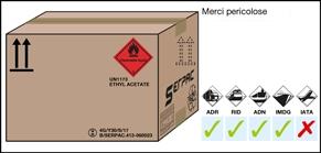 Imballaggio etichettato per merci pericolose spedite via terra, via forrovia , via navigabile e via mare