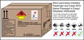 Imballaggio etichettato per Organic peroxide per il trasporto via aerea IATA