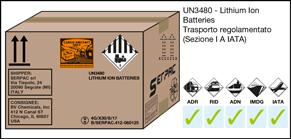 Imballaggio etichettato per Lithium Ion batteries (batterie al litio ionico) merce pericolosa