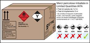 Imballaggio etichettato per merci pericolose imballate in limited quantity IATA