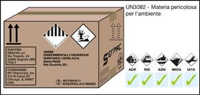 Imballaggio etichettato per UN3082 materia pericolosa per l'ambiente