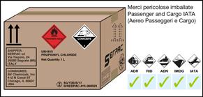 Imballaggio etichettato per merci pericolose aventi rischio sussidiario