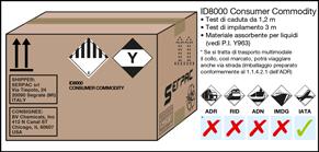 Imballaggio etichettato ID8000 via aerea IATA