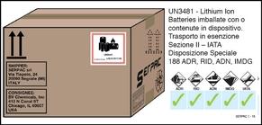 Imballaggio etichettato per Lithium metal batteries (batterie al litio metallico) in esenzione
