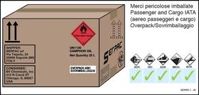 Overpack etichettato contenente merci pericolose